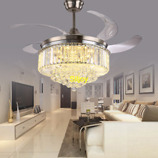 Modern Remote Control Ceiling Light Invisible Fan Lamp Crystal Chandelier Silver