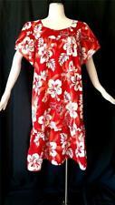HAWAIIAN Red & White FLORAL PRINT Vintage 1980s CAFTAN SUN DRESS - L / XL