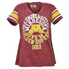 NCAA Minnesota Golden Gaufres Moyen T-Shirt Femmes Bordeaux Manches Courtes