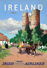 Travel Ireland Irish Airlines Holiday  Vacation Poster Print