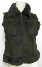 Bebe Brown Faux Fur Suede Vest Zipper Pockets S Women 4 6 Sleeveless Jacket