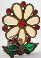 """VINTAGE """"HH JAPAN"""" STAINED GLASS CANDLE HOLDER - HEAVY CAST IRON - DAISY FLOWER"""