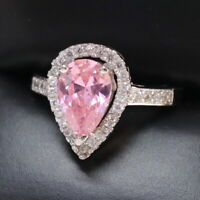 4 Ct Pear Pink Sapphire Ring Women Jewelry 14K White Gold Plated Free Shipping