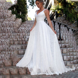 Women Backless Maxi Dress Wedding Bridesmaid Evening Party V Neck Ball Gown New