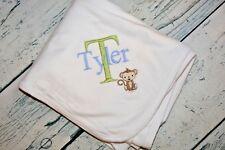 Custom Personalized Monkey Baby Blanket Baby Boy or Girl Receiving Blanket