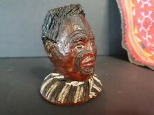 Old New Zealand Maori Carved Kauri Amber Resin Chieftain Bust
