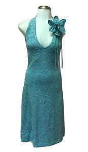 ST JOHN Evening 10 Large Pretty Paillette Blue Knit Designer Womens Halter Dress