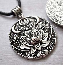 Antique Silver Plt Lotus Flower Pendant Necklace Buddhism Hinduism Egyptology