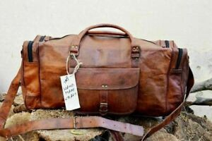 """New Men's 30"""" Real Vintage Leather Travel Luggage Weekend Duffel Sport Gym Bag"""