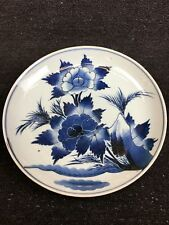 BLUE AND WHITE PORCELAIN PEONY PATTERN LARGE PLATE