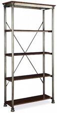 Metal Wood Bookcase 5-Tier Shelves Mid Century Vintage Unit Home Office Storage