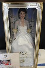 Franklin Mint Kate Middleton Vinyl Wedding Bride Doll Pristine With Shipper COA