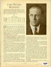 Carl Reynolds Psa Dna Coa Autograph 1933 Who`s Who 8x10 Photo Page Signed
