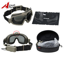 Tactical Paintball Anti-Fog Dust Safety Goggles Glasses 2 Lens With Fan Set DE