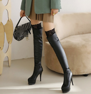 Womens PU Over The Knee Boots Sexy Lace Platform Knee High Stiletto Shoes Heels