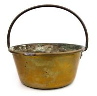 Antique Brass Cooking Pan Pot Planter Fixed Iron Handle