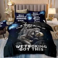 Skull Duvet Cover Set for Comforter King Size Black Bedding Set Pillowshams US