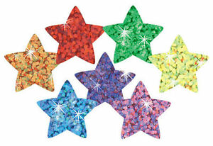 400 Colourful Sparkle Stars School Teacher Reward Stickers -Ideal Chart Stickers