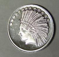 $10 Indian Saint-Gaudens Design 1 oz .999 Fine Silver Silver Round (92118)