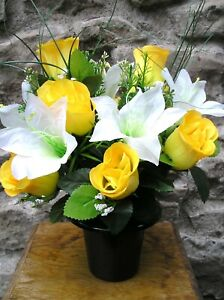Yellow Rose and Lilly  Artificial / Silk Flower Arrangement Grave / Memorial