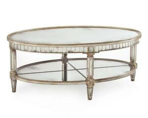 "51"" L Oval Cocktail Table Inset Hand Aged Mirrors Quartered Mirror Under Shelf"