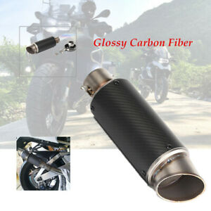 51mm Modified Motorcycle Scooter Glossy Carbon Fiber Exhaust Pipe Muffler Tip