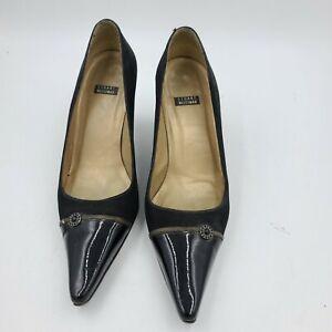 Stuart Weitzman Black Patent Leather Kitten Heel Pointy Slingback Pumps Sz 7.5 B