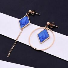Long Drop Earrings Blue Gold Asymetric Mismatched Dangle Round Big Geometric
