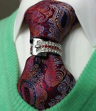 TIE BLING RING wedding SUIT white k tone RUBY clear stones PROM authentic new
