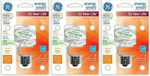 GE CFL Bulb Mini Energy Smart Smaller Spiral CFL 10W Replaces 40W 580 Lumens