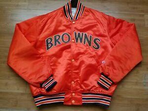 Rare Vintage Mens Starter Cleveland Browns Satin Jacket Size Large-Orange