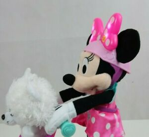 Just Play Disney Minnie Mouse On Scooter W/ Puppy in Basket  Sings, Talks, Moves