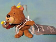 Hallmark Merry Miniatures Birthday Bear Blowing Out Birthday Cake Candle