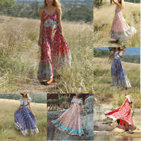 Women's Summer Bohemian Printed Waist V-Collar Chiffon Beach Long Cloak Dresses