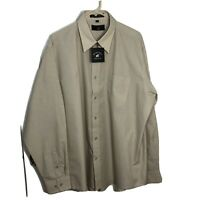 BEVERLY HILLS POLO CLUB Mens Long Sleeve Cream Button-Up Shirt Size 17.5 36/37