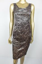 Vintage Dress Velvet Feel Rockabilly Wiggle Pencil Leopard Animal Print - 8
