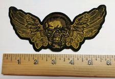🔥vintage skull patch wings leather jacket vest MC motorcycle biker harley 1% er