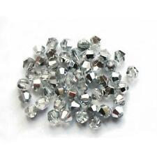 Czech Crystal Glass Faceted Bicone Beads 4mm Silver/clear 75 Pcs DIY Jewellery