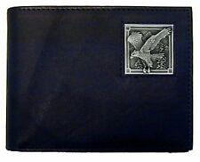 bald eagle america logo emblem leather bi-fold wallet made in usa