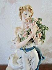 "G. Armani Figure Figurine Statue Sculpture ""Belle"" Lady Roses Flowers Girl Italy"