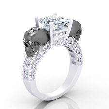 3.00 Ct Princess Cut Diamond Ring Gothic Style Black Skull Design White Gold Fn