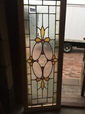 Sg 1513 Antique Transom Stainglass Window Beveled Center 20.25 X 56.5