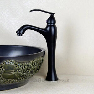 Oil Rubbed Black Tall Bathroom Basin Faucet Single Lever Lavatory Sink Mixer Tap