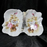 Vintage Ucagco Ceramic Candy Dish Made in Japan Floral Roses With Handle