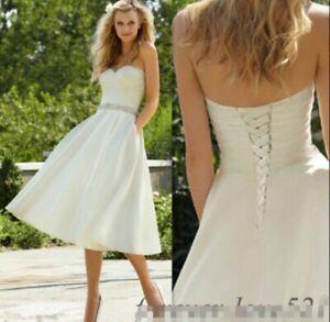 White*Ivory Satin beaded Strapless wedding bridal dress size 6 8 10 12 16 18 14