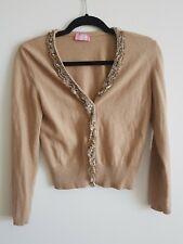 Blumarine sweater Cardigan Cashmere Wool Angora Taupe XS embellished