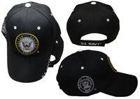 "8/"" US Navy Emblem USN Seal Crest Black Embroidered Beanie Skull Cap WIN602B TOPW"