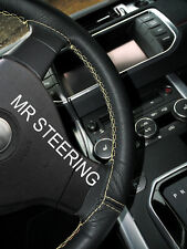 FOR 04+ MERCEDES CLS W219 BLACK LEATHER STEERING WHEEL COVER CREAM DOUBLE STITCH