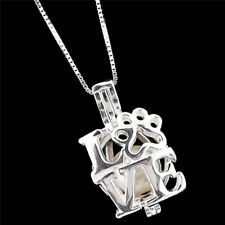 """LOVE Dog Footprint Add Pearl Cage Charm Sterling Silver 925 Necklace 16"""" -K1156"""