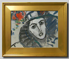 JOSE TRUJILLO FRAMED Expressionist Abstract Portrait Oil Painting Modernist COA